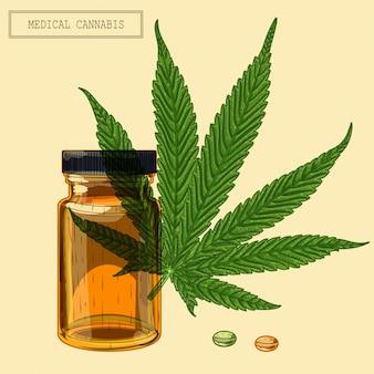 Feuille de cannabis médical et flacon et pilules