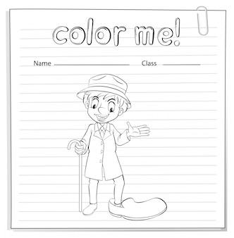 Une feuille de coloriage avec un homme