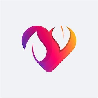 Feuille sur la couleur du dégradé du logo de l'amour