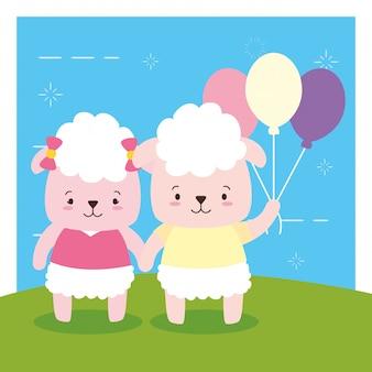 Feuille de couple avec ballons, animal mignon, dessin animé et style plat, illustration
