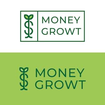 Feuille avec la création de logo d'investissement de croissance d'argent de germe de dollar