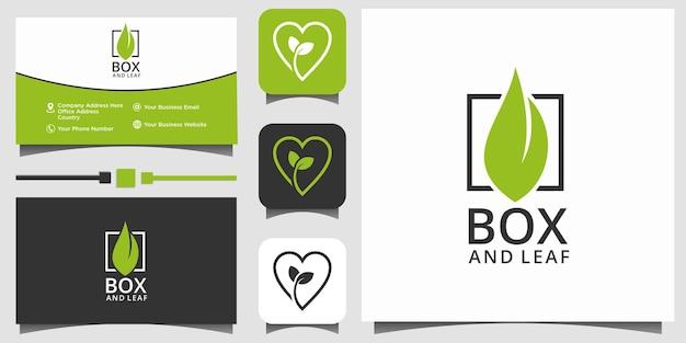 Feuille dans la boîte nature logo design vecteur modèle carte de visite fond