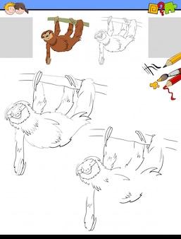 Feuille de dessin et de coloriage avec un animal paresseux