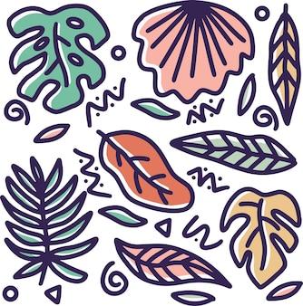 Feuille de doodle dessinés à la main sertie d'icônes et d'éléments de conception