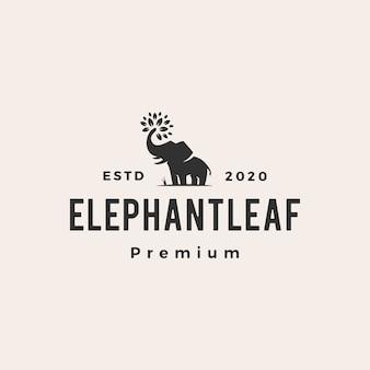 Feuille d'éléphant laisse logo vintage arbre