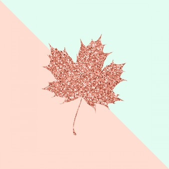 Feuille d'érable rose sur duo couleur pastel