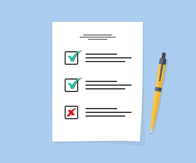 Feuille d'examen. papier d'affaires avec liste de contrôle et crayon dans un design plat