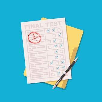 Feuille d'examen avec test d'éducation de qualité a plus