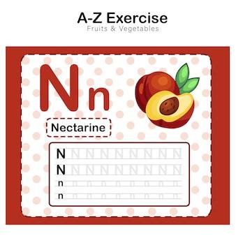 Feuille d'exercices pour les enfants, alphabet n. exercice avec illustration de vocabulaire de dessin animé, nectarine