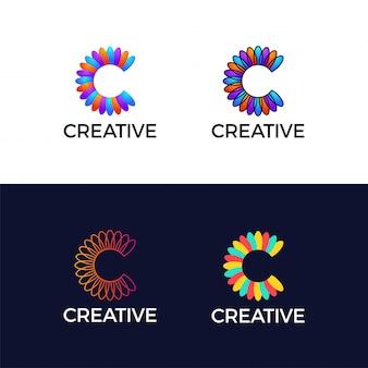 Feuille de fleur coloré lettre créative c logotype abstrait.