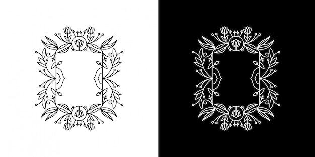 Feuille fleur vintage cadre monoline