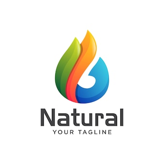 Feuille goutte d'eau naturelle logo gradient