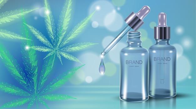 Feuille d'huile de marijuana médicale. légaliser le concept de traitement de la douleur médicale. symbole de bouteille de verre de médecine de cannabis cannabis. pipette transparente illustration de prescription réaliste.