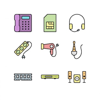 Feuille d'icônes d'appareils électroniques isolé sur fond blanc