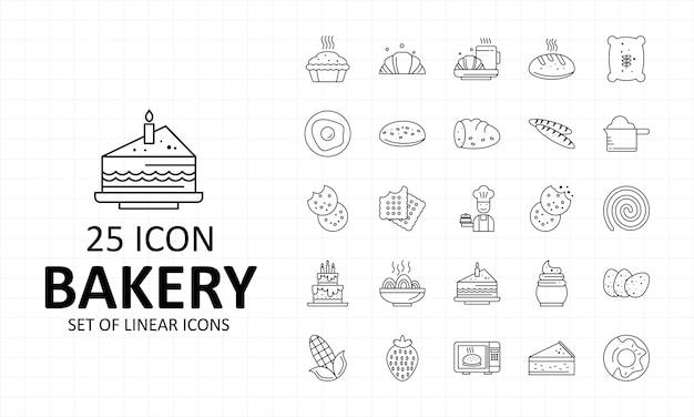Feuille d'icônes de boulangerie pixel perfect icons