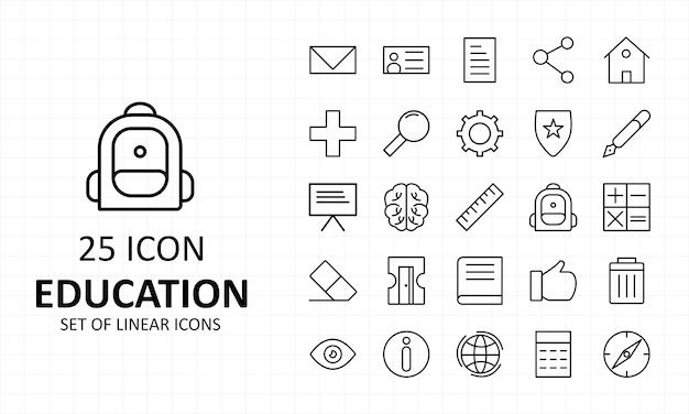 Feuille d'icônes d'éducation pixel perfect icons