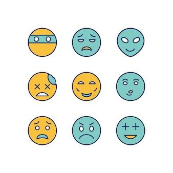 Feuille d'icônes emoji isolé sur fond blanc