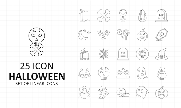 Feuille d'icônes halloween pixel perfect icons