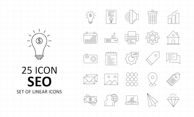 Feuille d'icônes seo pixel perfect icons