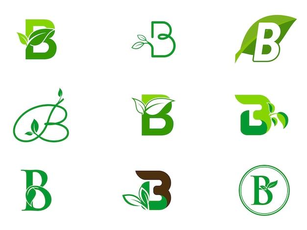 Feuille initiales b ensemble de logo