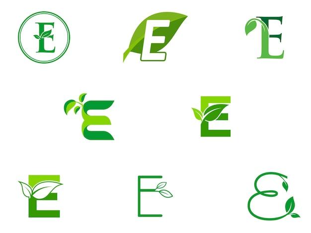 Feuille initiales e ensemble de logo