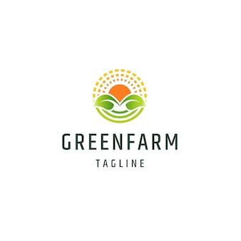 Feuille et lever de soleil ferme verte récolte agriculture logo icône modèle de conception vecteur plat