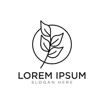 Feuille ligne simple logo design premium