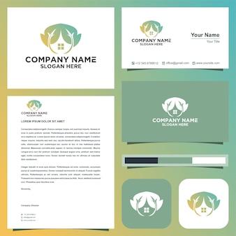 Feuille de logo immobilier et carte d'entreprise