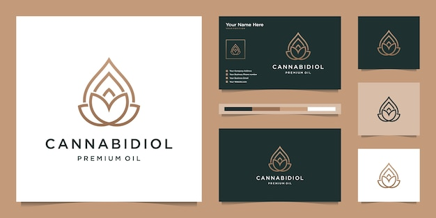 Feuille de luxe et goutte avec style d'art en ligne. huile de cbd, marijuana, création de logo de cannabis et carte de visite.