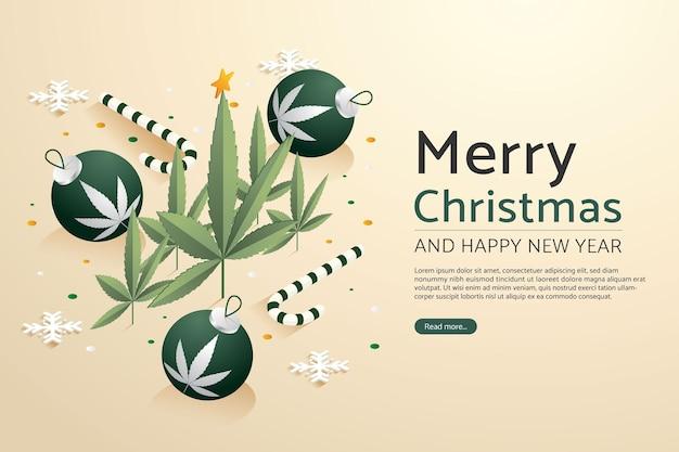 Feuille de marijuana avec boule de noël et cannes de bonbon de décoration joyeux noël et bonne année