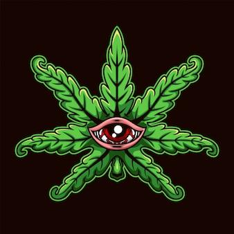 Feuille de marijuana de dessin animé aux yeux rouges