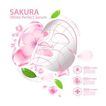 Feuille de masque facial sakura solution de collagène cosmétique de soins naturels de la peau.