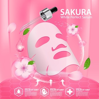 Feuille de masque de visage illustration réaliste avec des ingrédients cosmétiques de soin de la peau de fleurs de cerisier