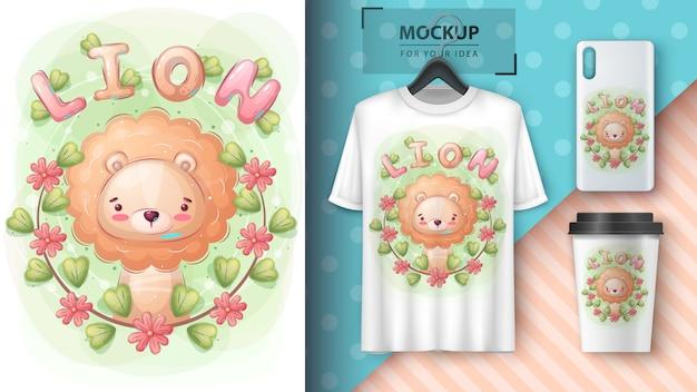 Feuille mignonne dans l'affiche de la forêt de fleurs et le merchandising.