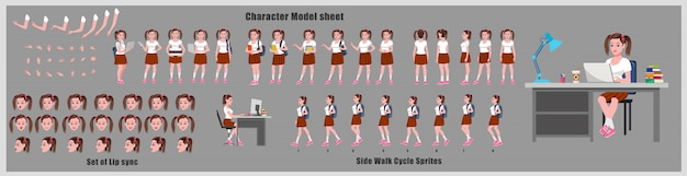 Feuille de modèle de conception de personnage d'étudiant fille avec animation de cycle de marche. conception de personnage de fille. poses d'animation avant, latérale, arrière et explicative. jeu de caractères avec différentes vues et synchronisation labiale