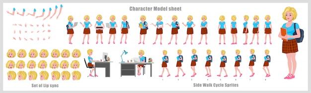 Feuille de modèle de conception de personnage étudiant fille cheveux blonds avec animation de cycle de marche. conception de personnage de fille. poses d'animation avant, latérale, arrière et explicative. jeu de caractères avec synchronisation labiale