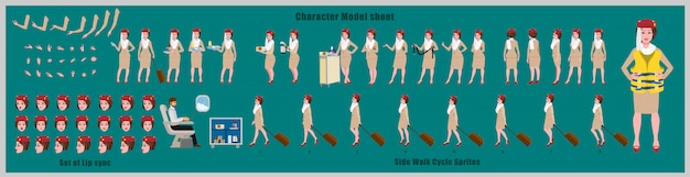 Feuille de modèle de conception de personnage d'hôtesse arabe avec animation de cycle de marche. conception de personnage de fille. poses d'animation avant, latérale, arrière et explicative. jeu de caractères avec différentes vues et synchronisation labiale