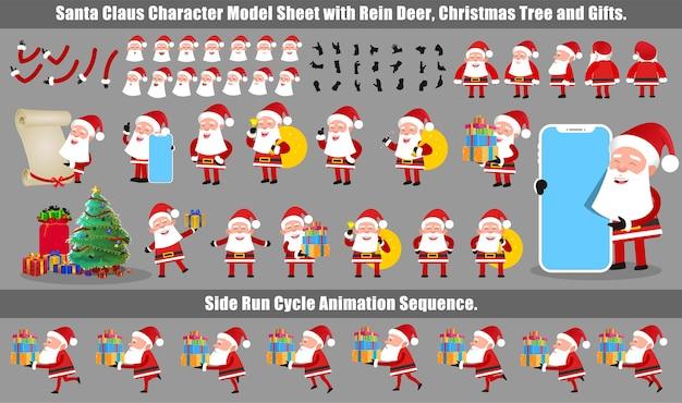 Feuille de modèle de conception de personnage de noël santa claus avec animation de cycle d'exécution et synchronisation labiale
