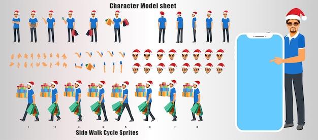 Feuille de modèle de conception de personnage de noël santa man avec animation de cycle de marche et synchronisation labiale