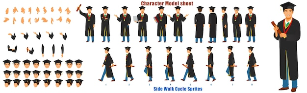 Feuille de modèle de personnage d'étudiant diplômé avec séquence d'animation du cycle de marche
