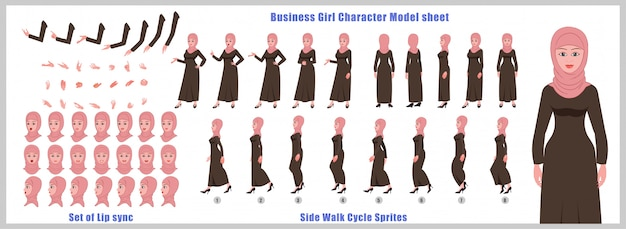 Feuille de modèle de personnage de fille arabe avec animations de cycle de marche et synchronisation labiale