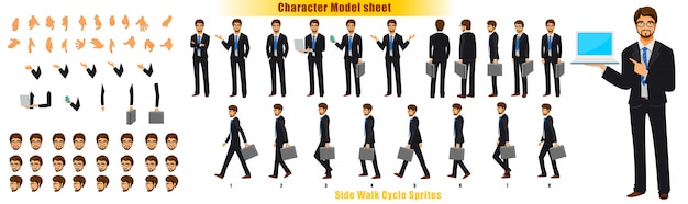 Feuille de modèle de personnage d'homme d'affaires avec feuille de cycle d'animation animation de sprites