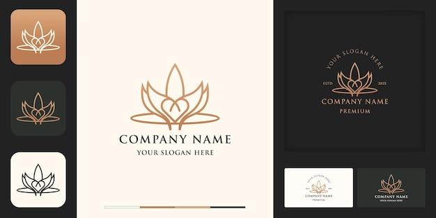 Feuille de nature avec conception de logo d'inspiration d'amour et carte de visite