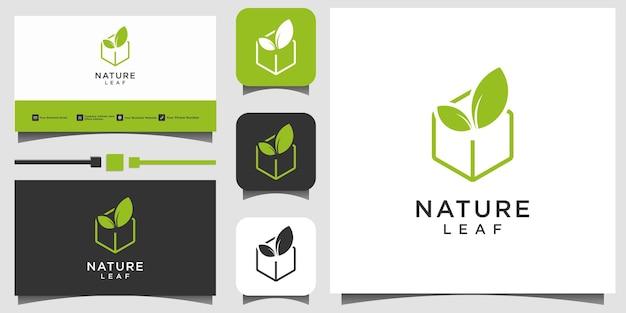 Feuille nature vert logo design vecteur modèle fond carte de visite