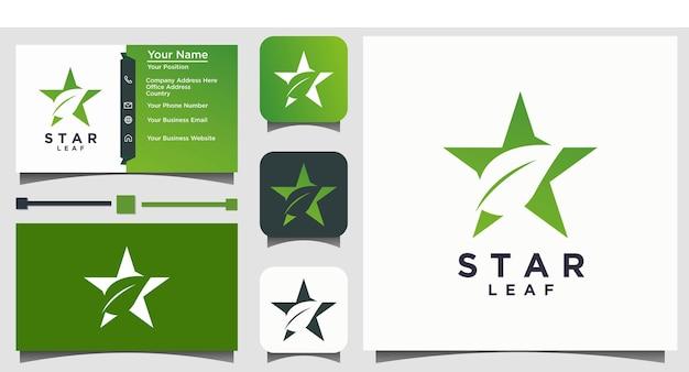 Feuille nature verte et vecteur de conception de logo étoile