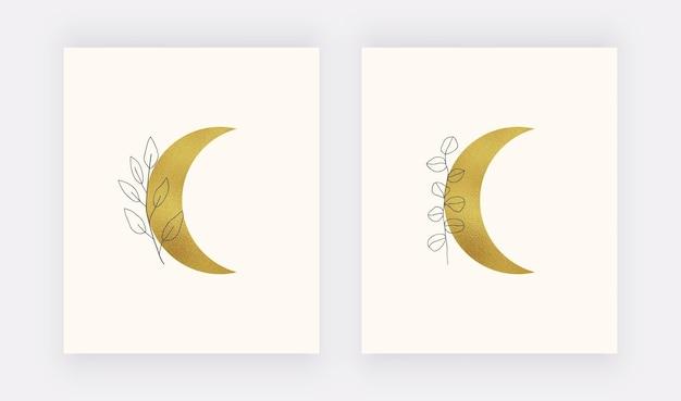 Feuille d'or lune avec impression d'art mural de feuilles. boho milieu du siècle