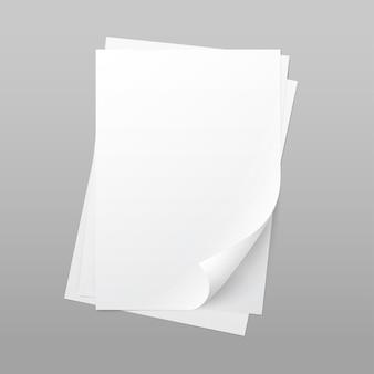 Feuille de page de papier blanc blanc de vecteur avec coin curl isolé sur