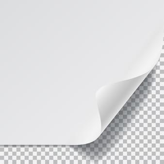 Feuille de papier blanc avec coin incurvé et avec ombre