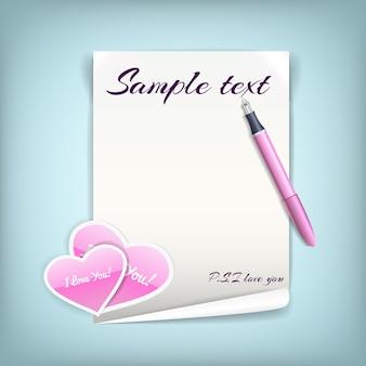 Feuille de papier blanc noir avec des coeurs roses pour lettre d'amour avec un stylo