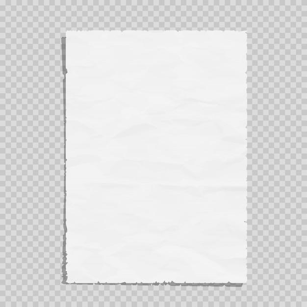 Feuille de papier blanc vide froissé